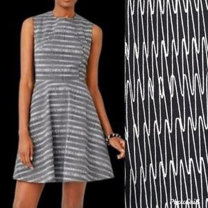 {kate spade} zig zag sleeveless fit & flare dress